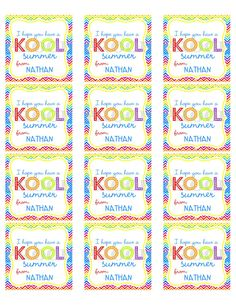 4 Images of Have A Krazy Kool Summer Printable Tags