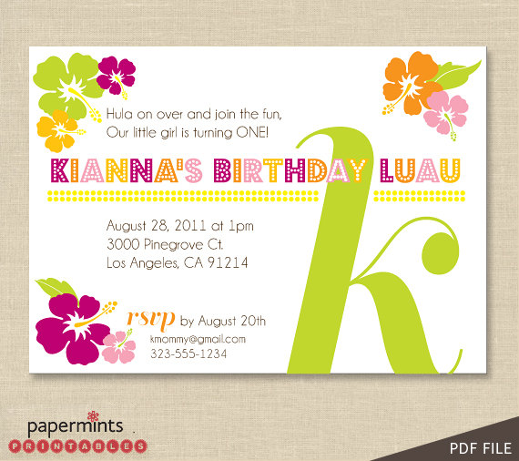 6 Images of Hawaiian Luau Party Invitations Printable