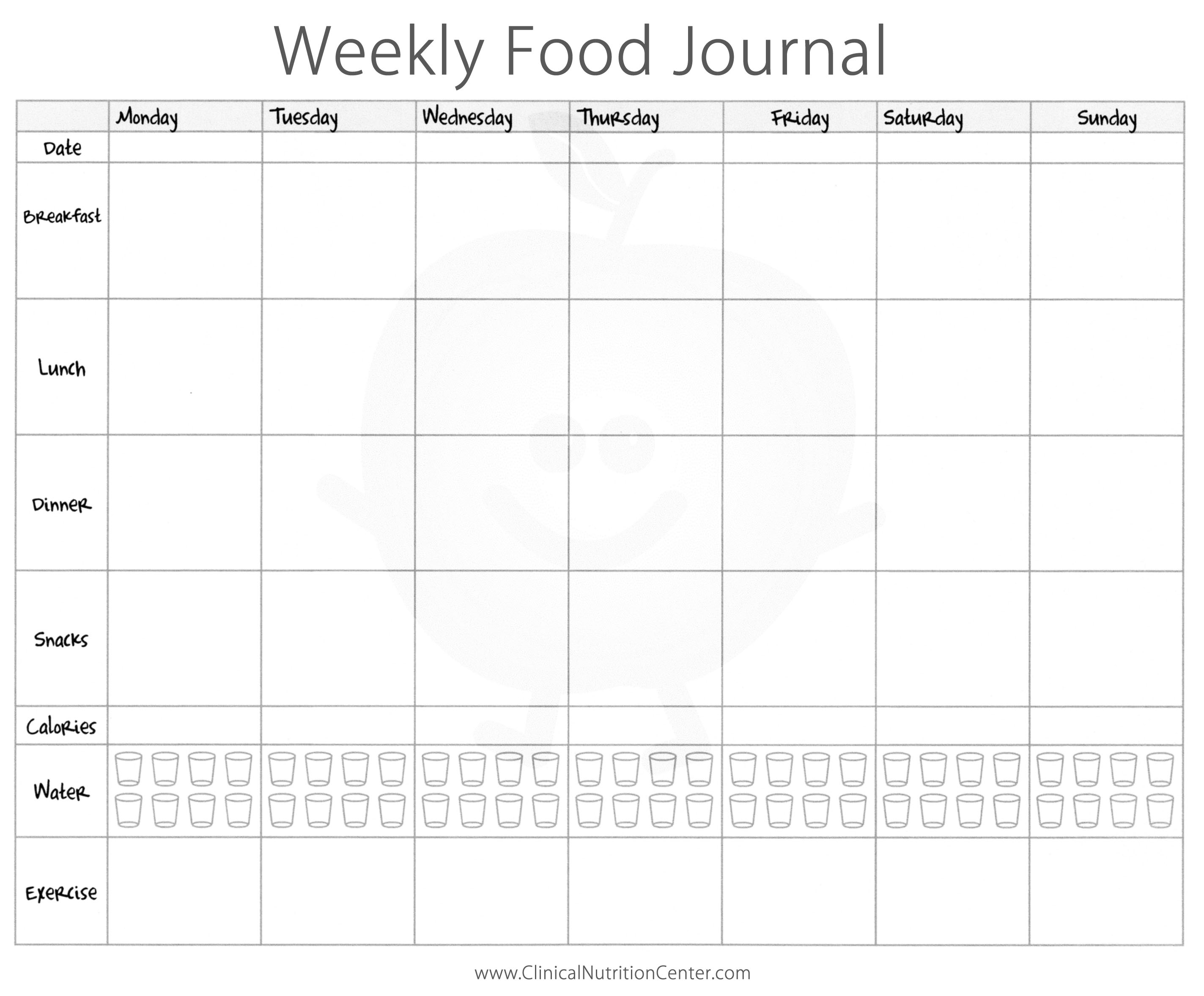 8 Best Images of Weekly Food Journal Printable Worksheet - Journal ...