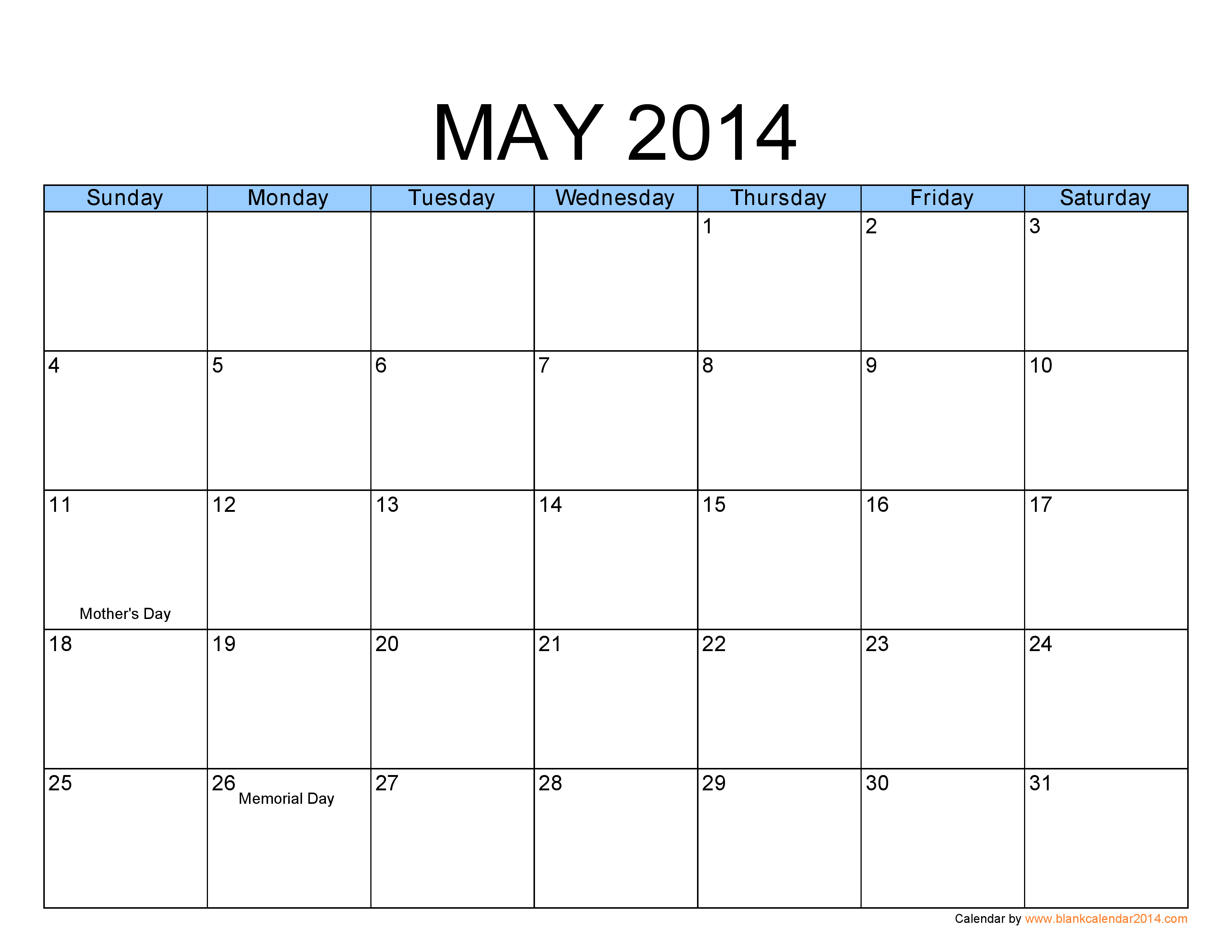 5 Images of May Printable Calendar July 2014