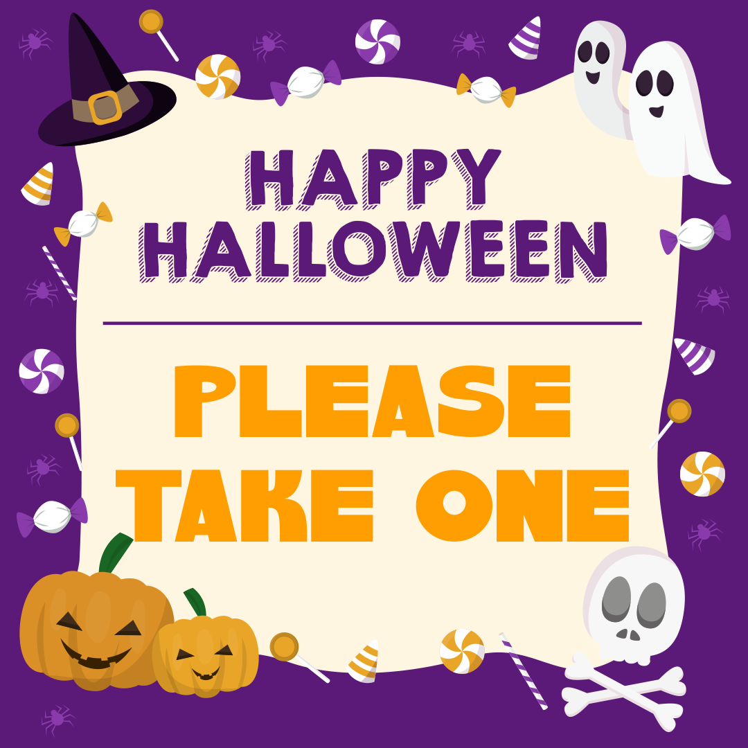 Please Take One Candy Sign Halloween