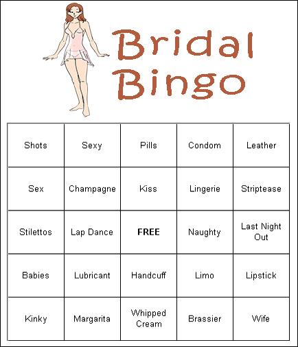 Printable Bachelorette Party Games Bingo