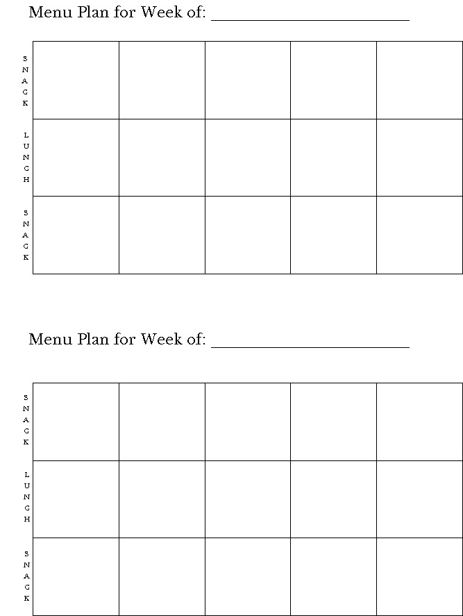 Printable Blank Day Care Menus
