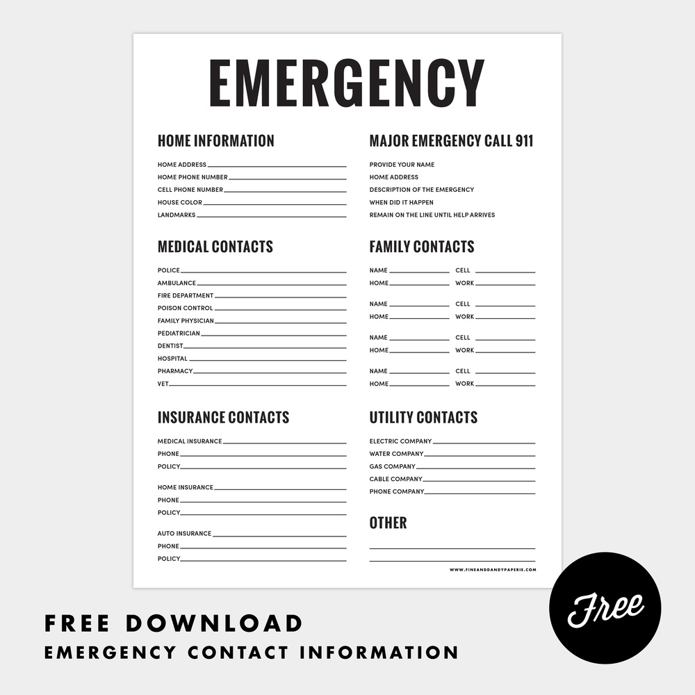 7 best images of printable emergency contact list