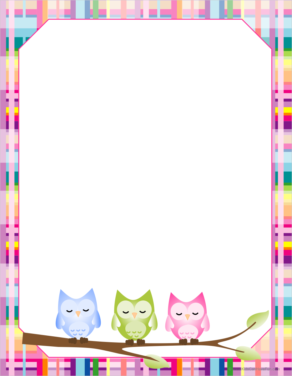 8 Images of Owl Border Printables