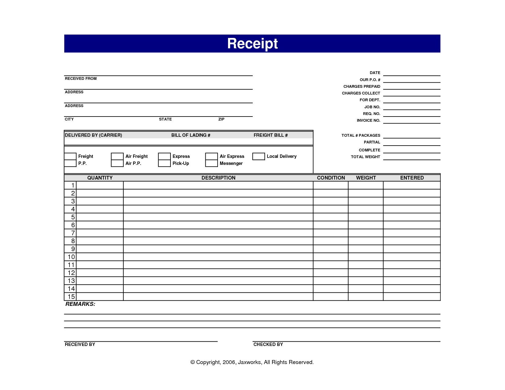 printable sales receipts free
