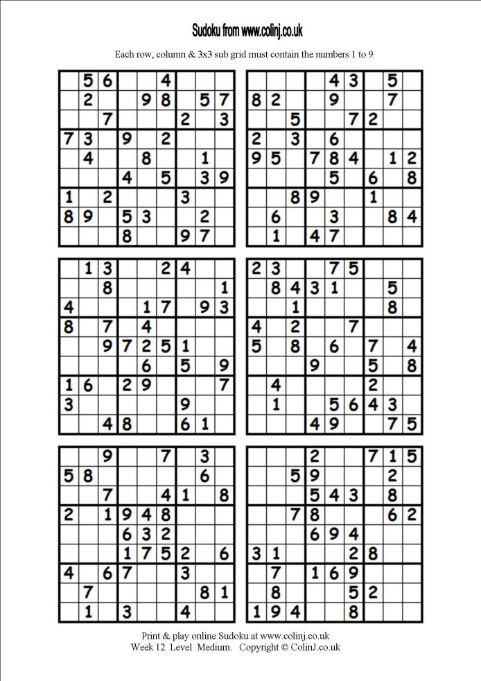 6 Images of Printable Sudoku 6 Per Page