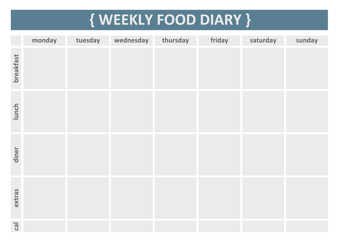 8 Images of Free Printable Weekly Food Diary