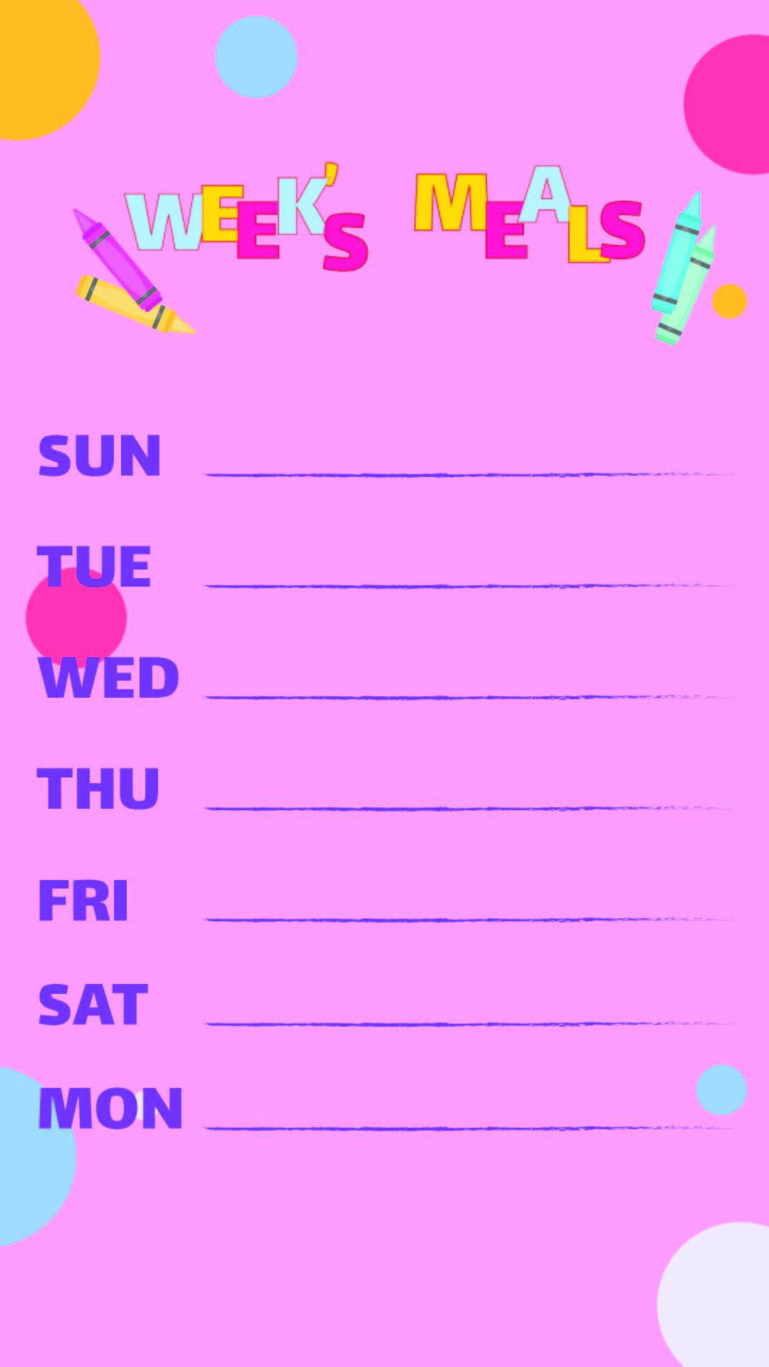 Printable Weekly Food Menu