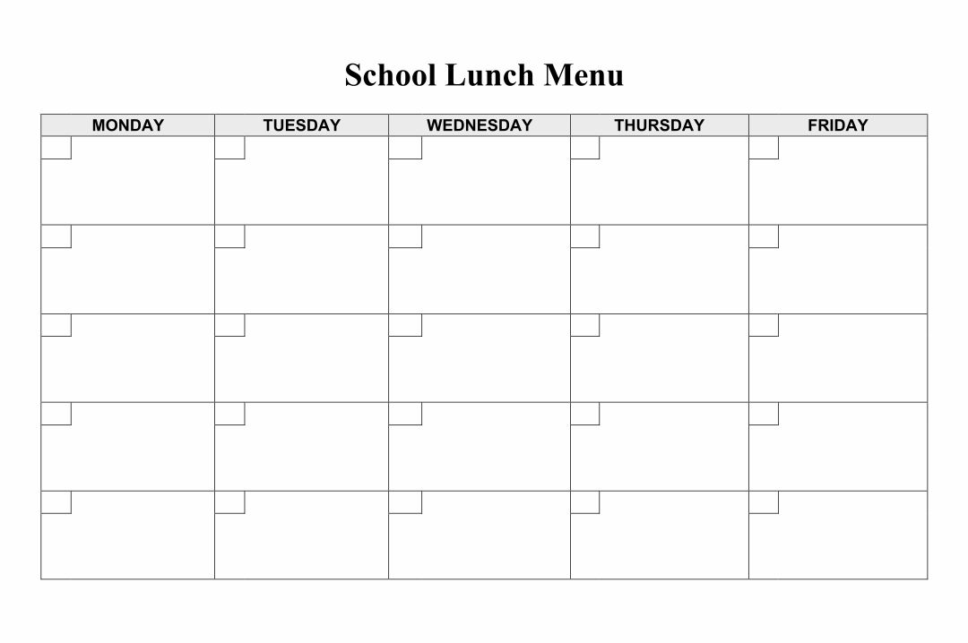 School Lunch Menu Template Printable