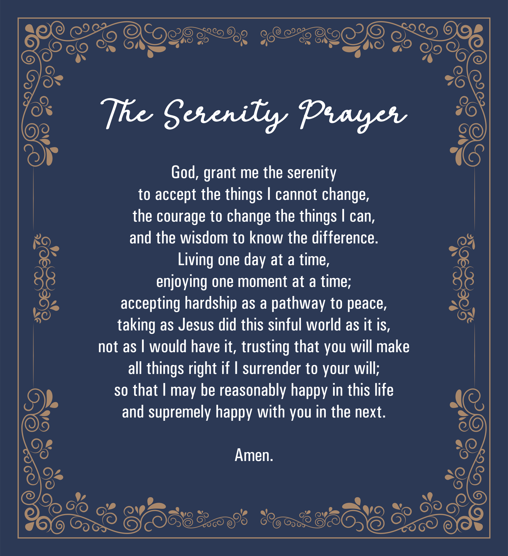 9 Best Images Of The Serenity Prayer Printable Version