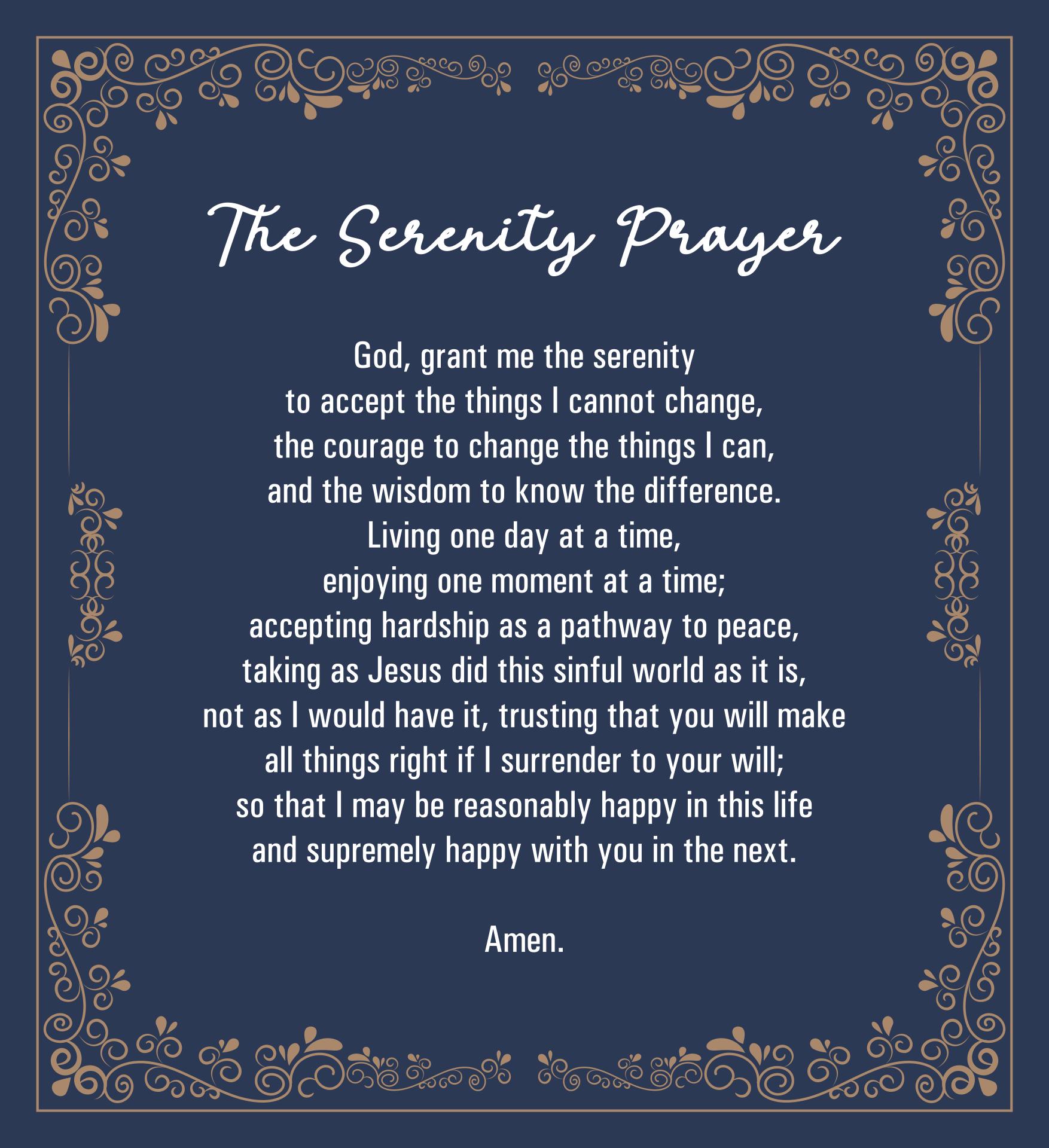 Serenity Prayer Long Version