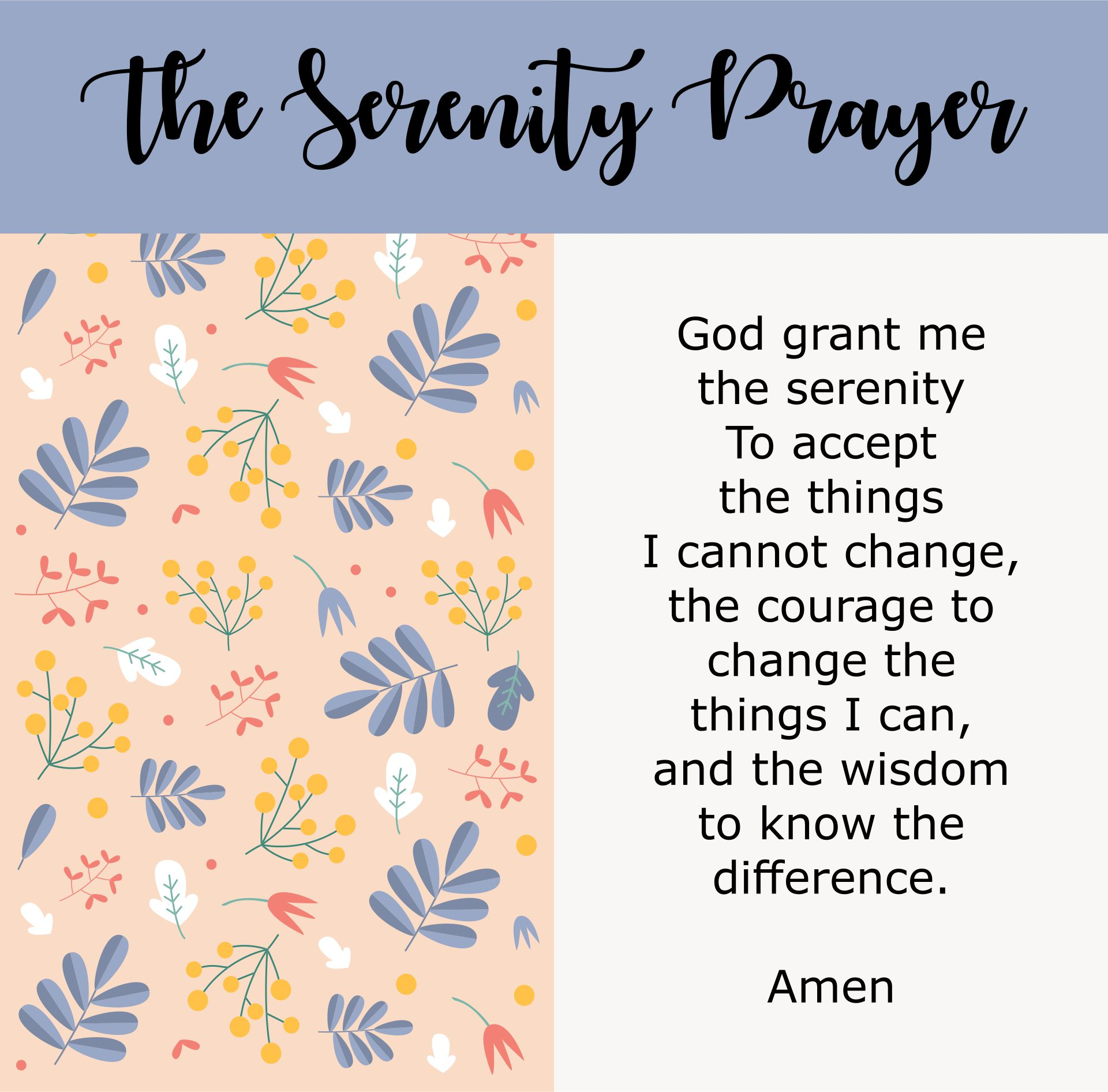 The Serenity Prayer Printable Version
