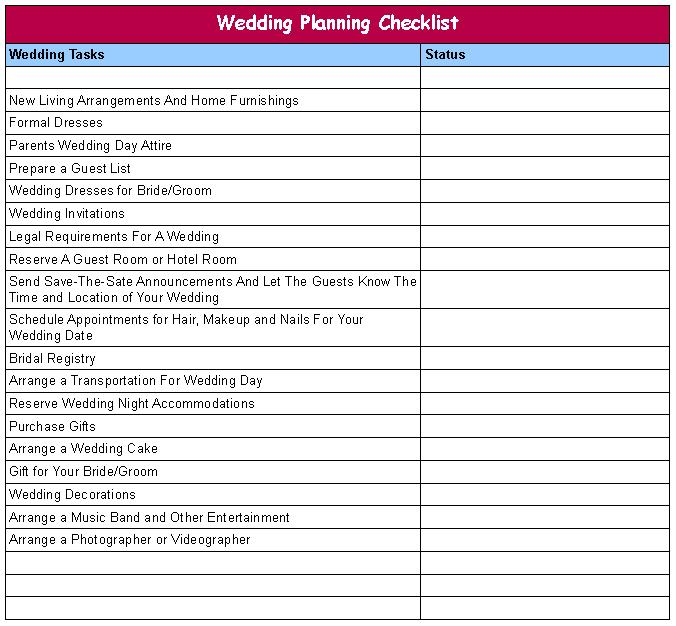 List Of Good Wedding Reception Songs: 7 Best Images Of Wedding Director Checklist Printable