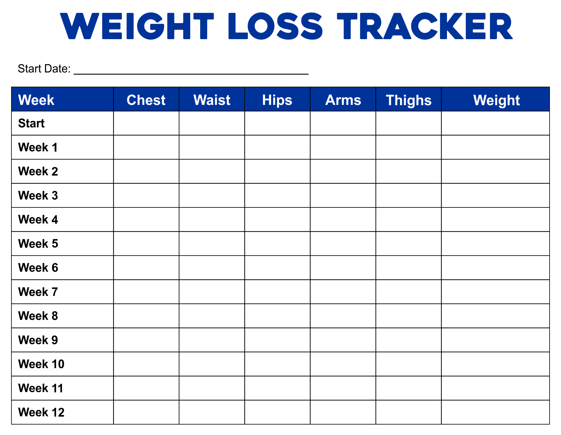 7 Images of Weekly Weight Loss Tracker Printable