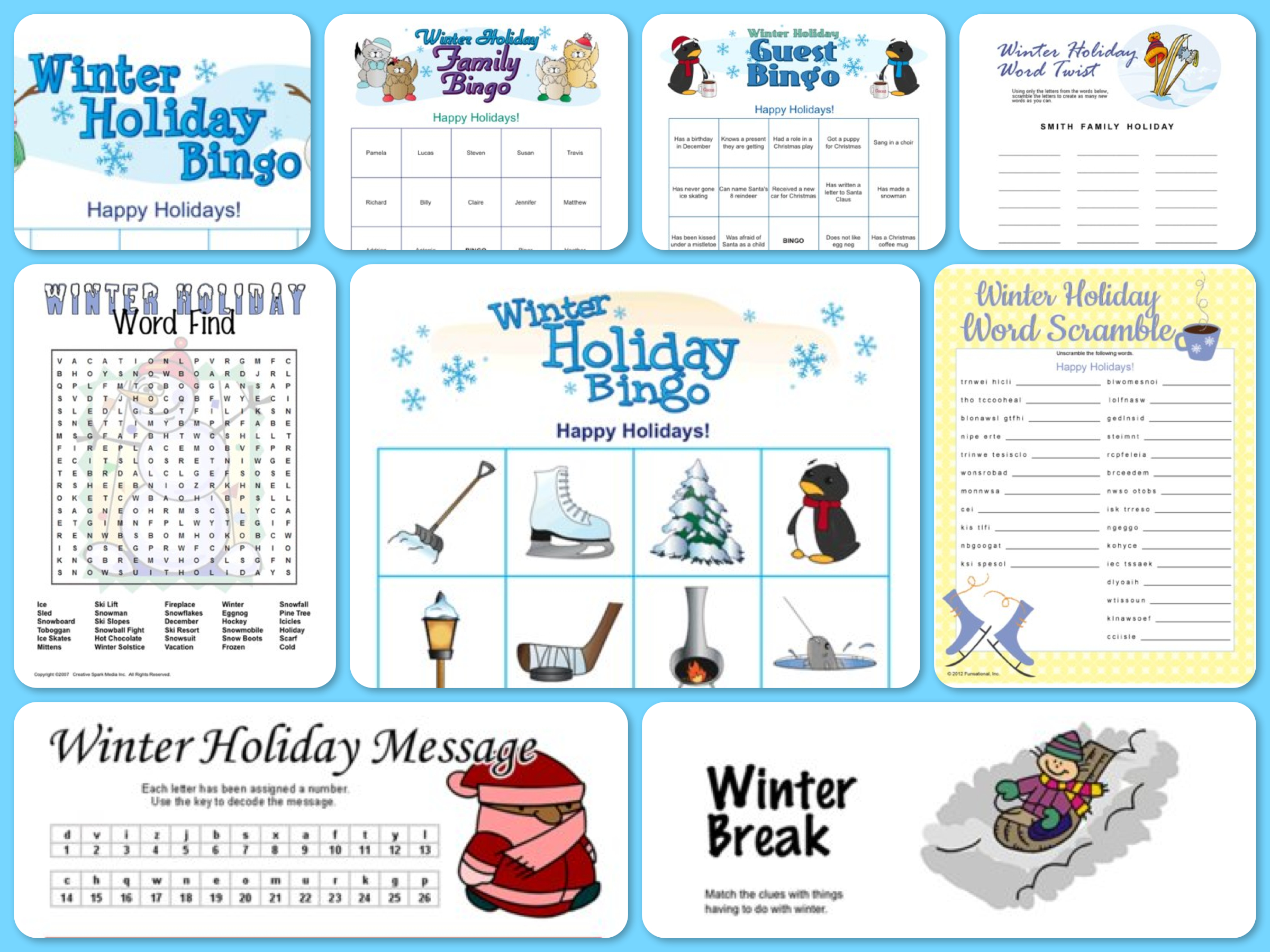 5 Images of Winter Printable Games