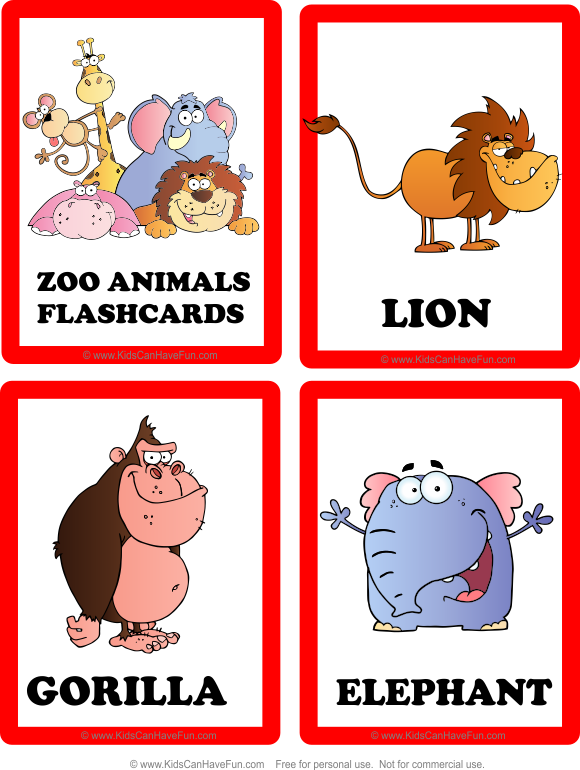 5 Images of Printable Zoo Animal Flash Cards