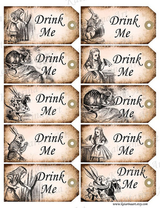 5 Images of Free Printable Drink Me Tags