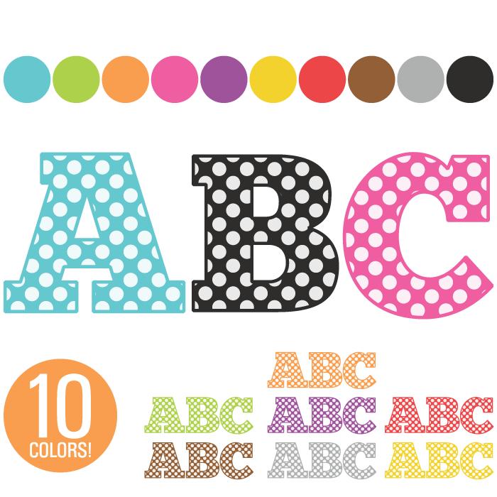 Alphabet Letters Clip Art Polka Dots