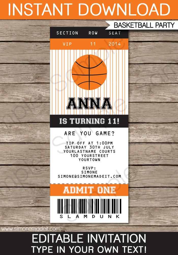 5 Images of Free Printable Basketball Birthday Invitations
