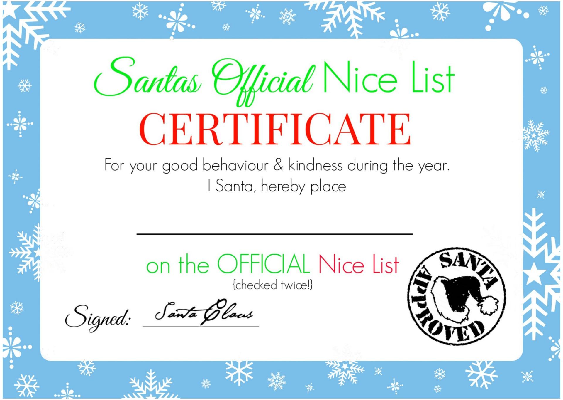 7 Images of Blank Nice List Certificate Printable