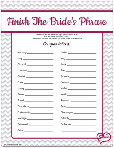 6 Images of Free Printable Bridal Shower Games And Answers