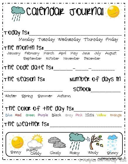 Calendar Math Kindergarten : Best images of kindergarten calendar journal printables