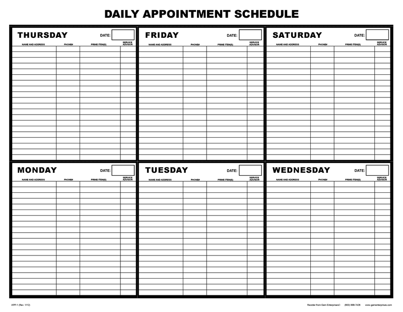 8 Images of Printable Weekly Appointment Schedule