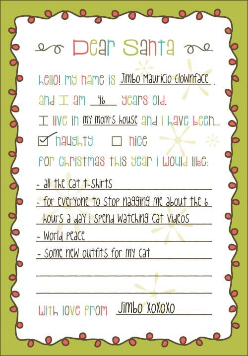 Dear Santa Christmas List Printable