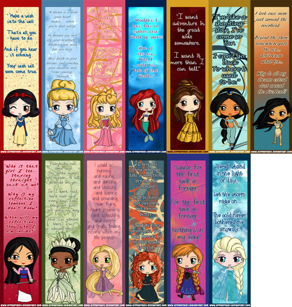 6 Images of All Princess Disney Printable Bookmarks