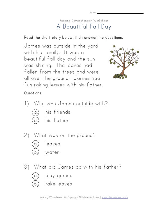 5 Images of Fall Comprehension Worksheets And Printables