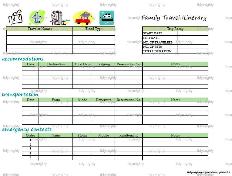 8 best images of printable vacation itinerary free for Trip planning itinerary template