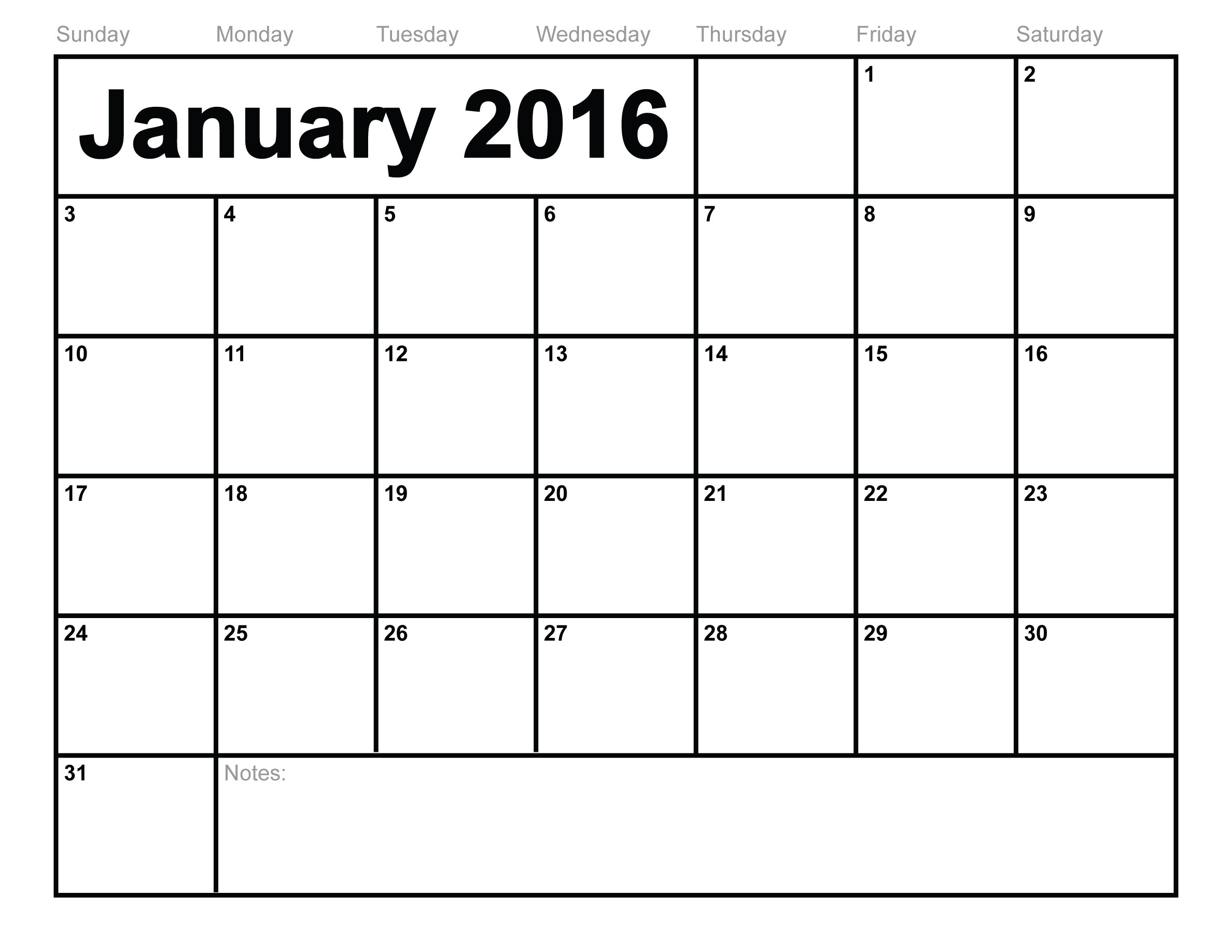 6 Images of Free Printable Calendars January 2016 Com