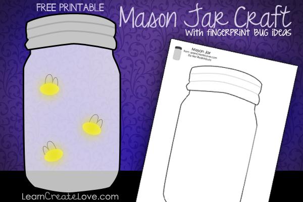 Fingerprint Bugs Craft for Mason Jar