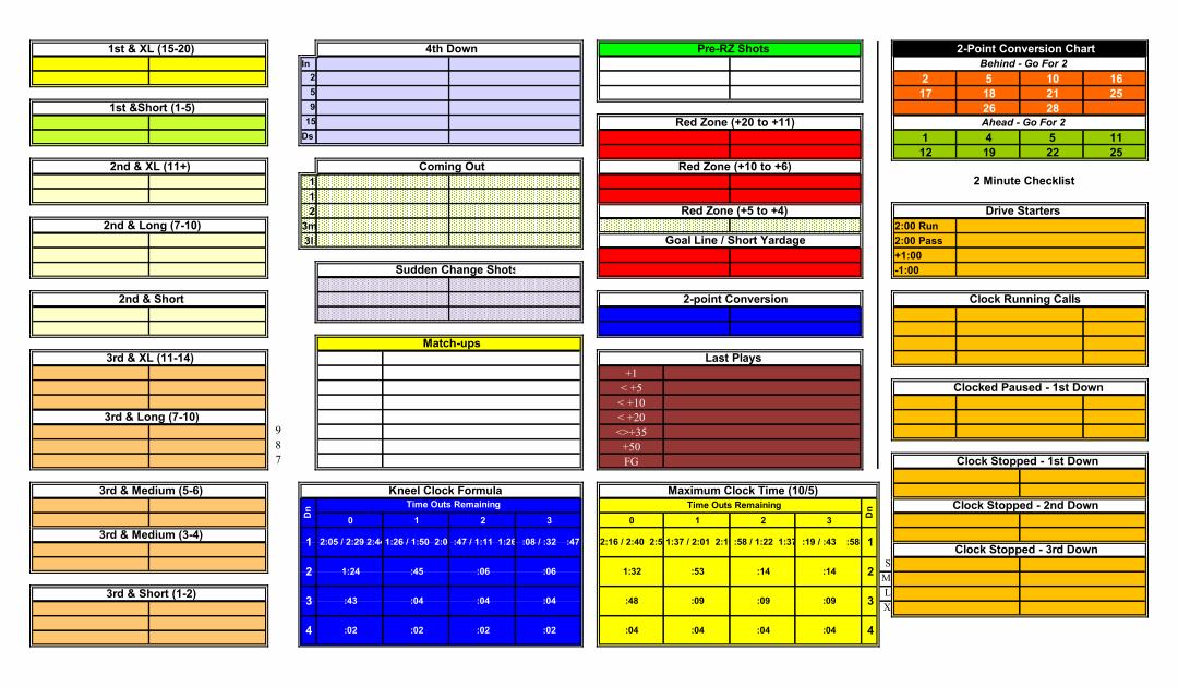Football Play Call Sheet Template