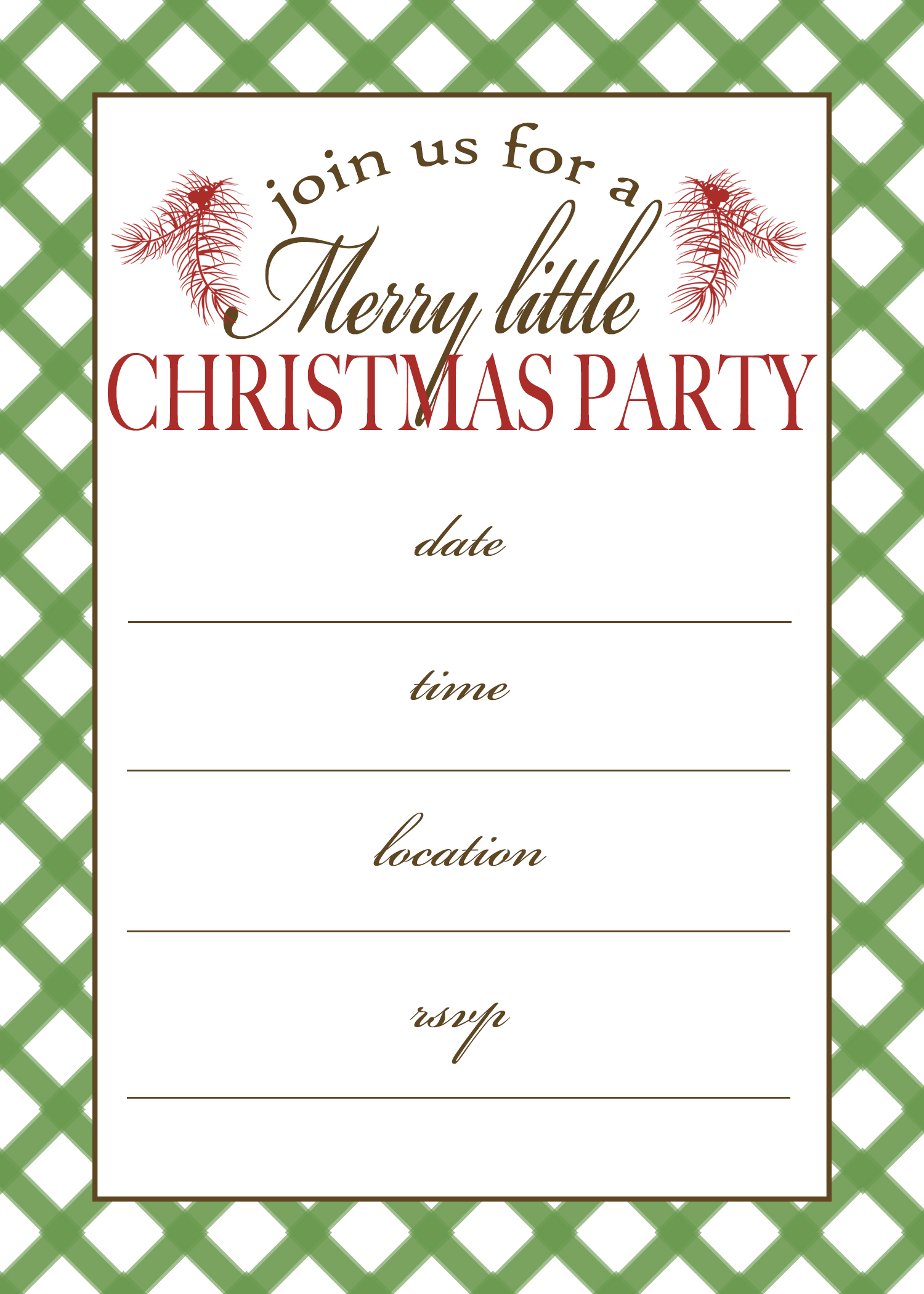 7 best images of free printable christmas invitation for Free holiday invitation templates