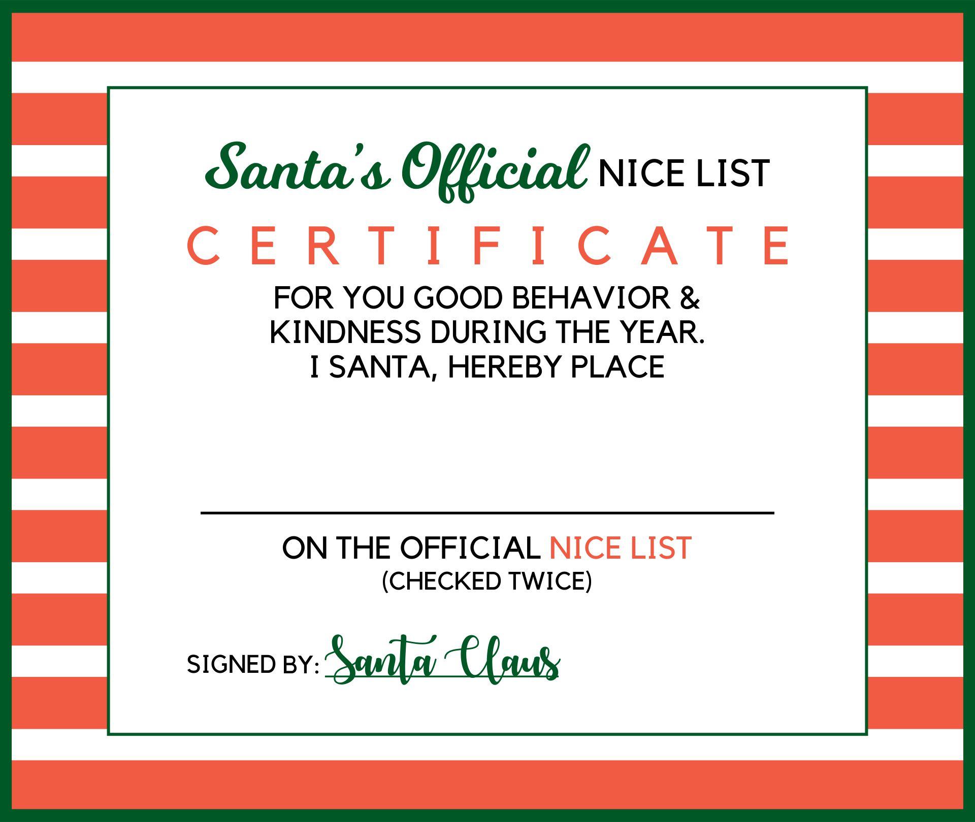 Nice List Certificate From Santa
