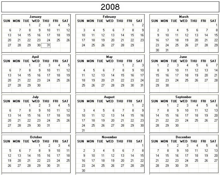 6 Images of 2008 Calendar Printable