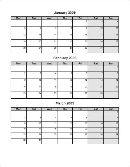 5 best images of 3 month calendar template 2016 printable