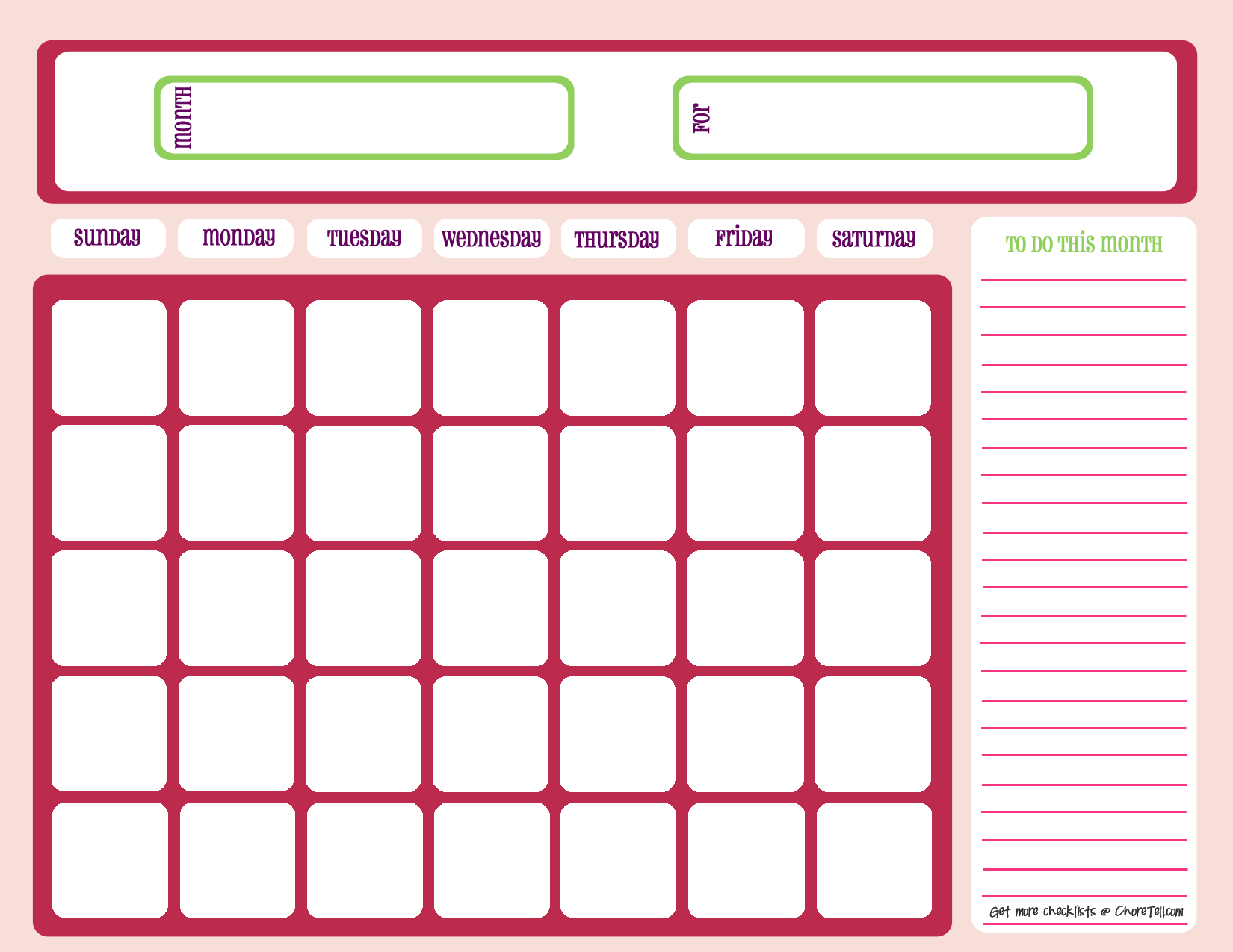 8 Images of Free Printable Weekly Blank Calendar Templates