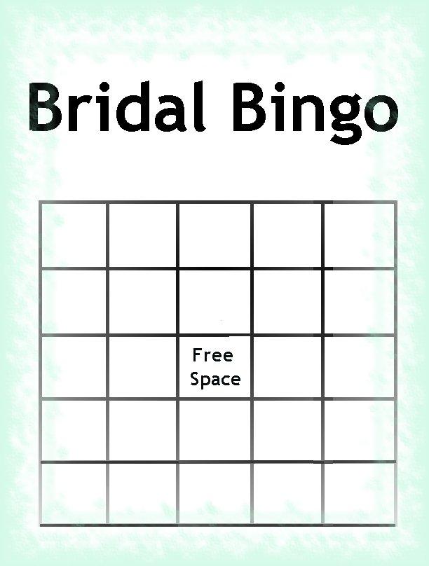 Bridal Shower Bingo Template Blank, Bridal Shower Games Bingo ...