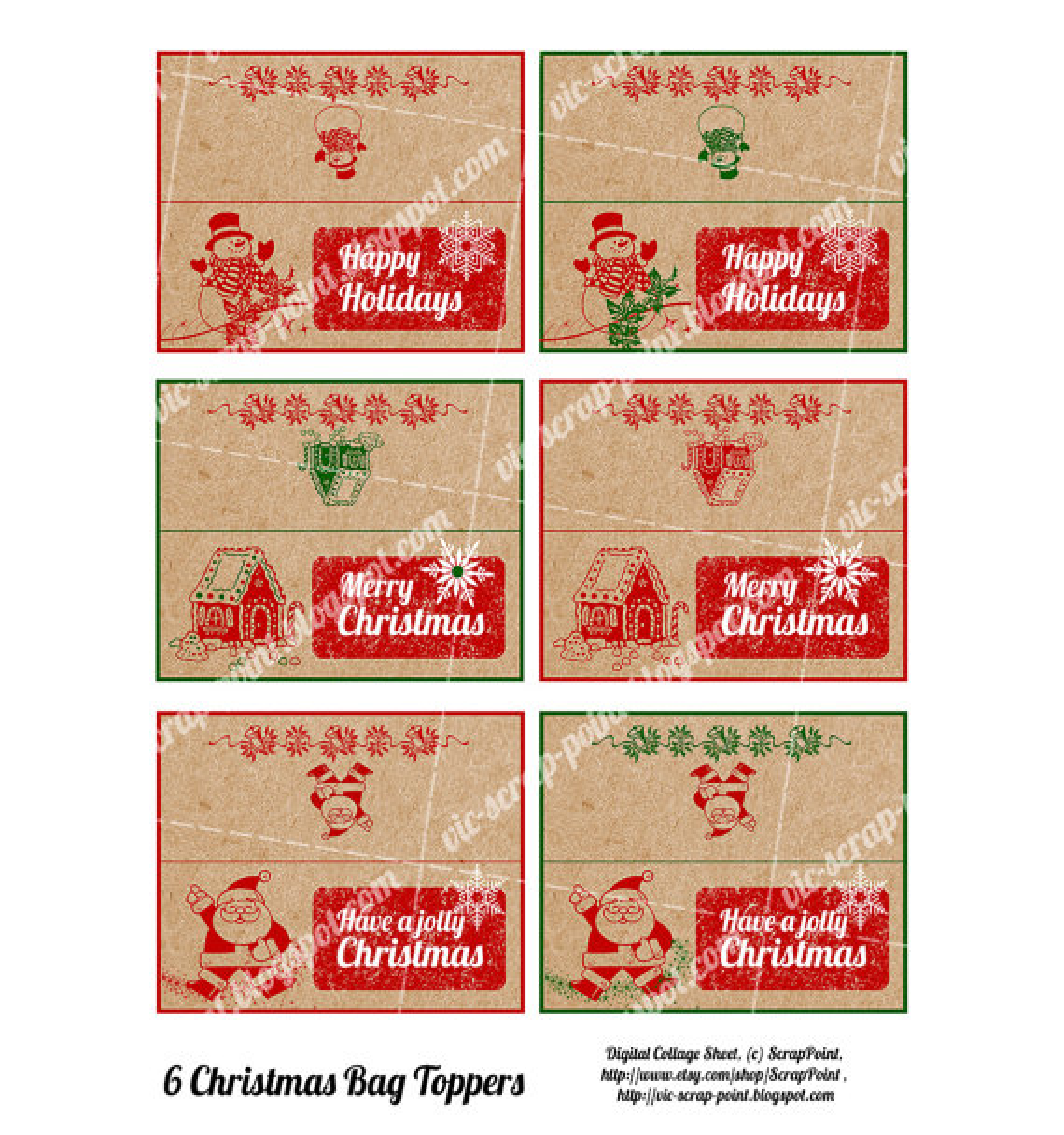 8 Images of Christmas Treat Bag Printables