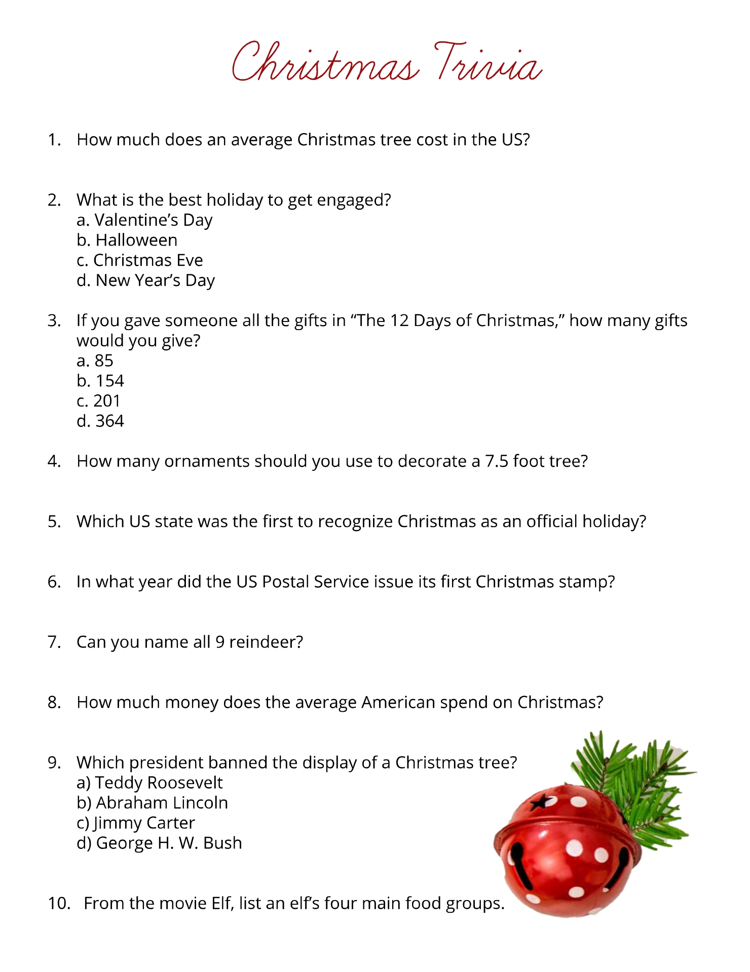 Printable Christmas Trivia Questions