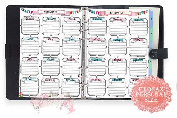 Free Printable Filofax Calendar