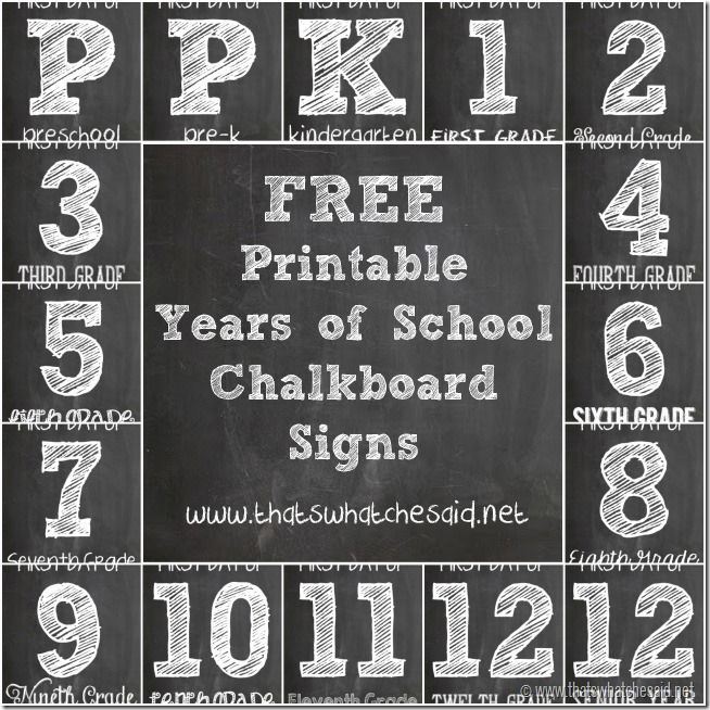4 Images of Back To School Chalkboard Printables