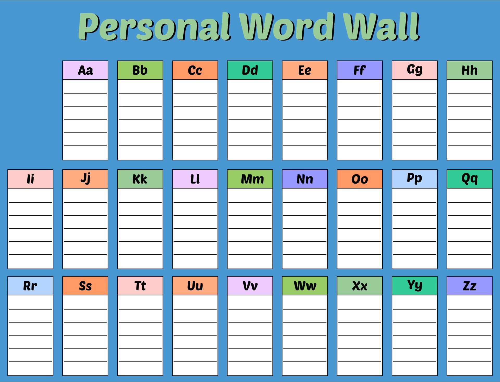 Printable Personal Word Wall