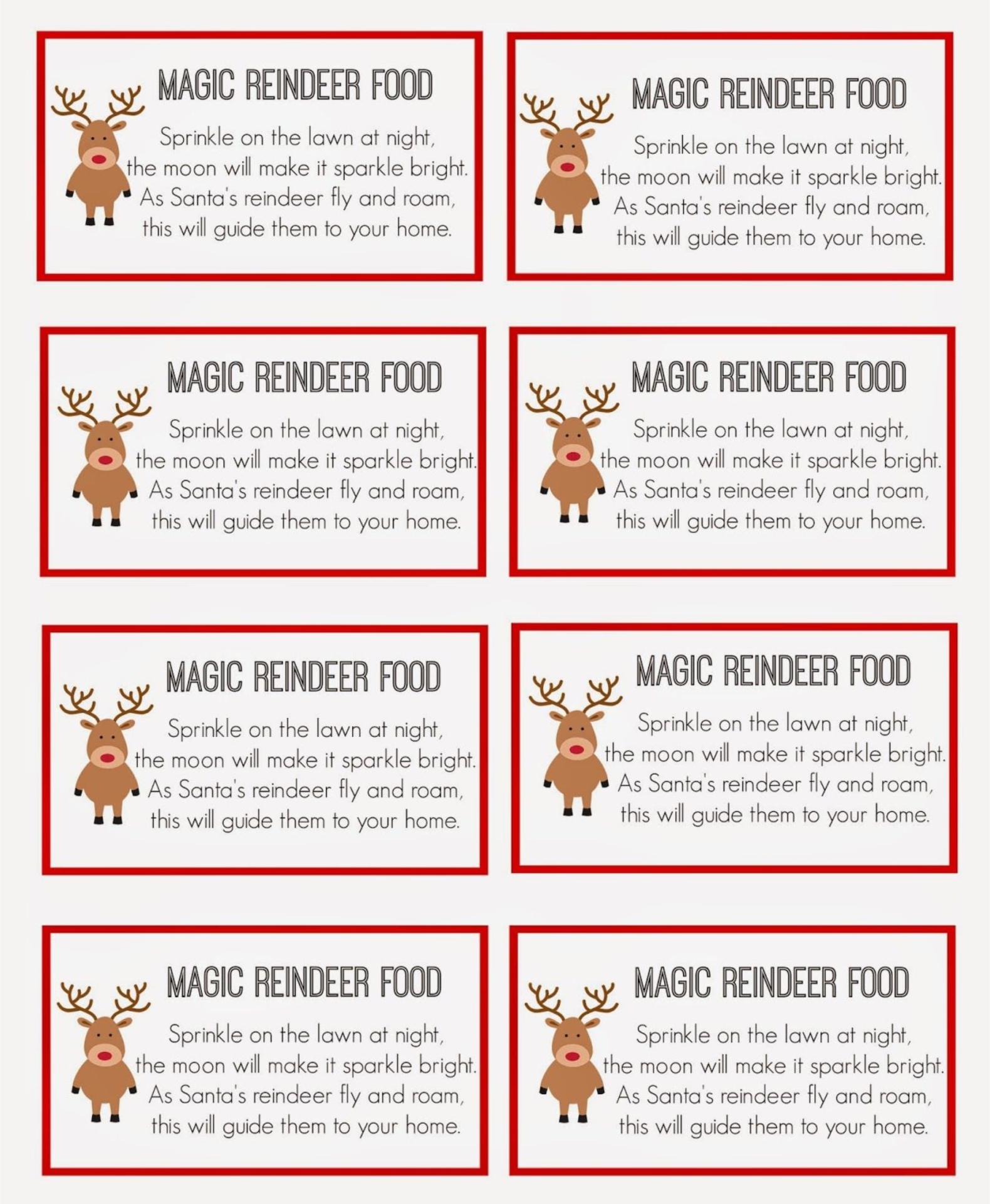6 Images of Free Reindeer Food Tags Printables