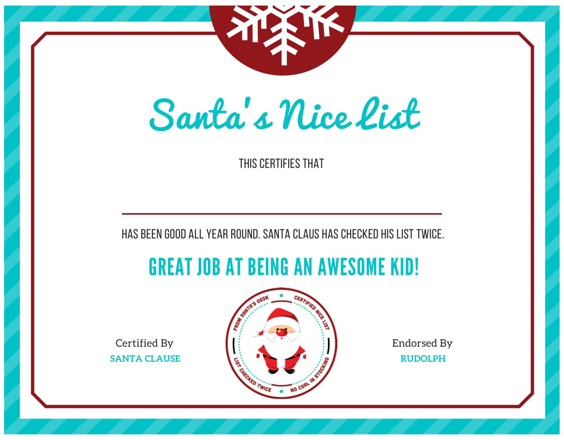Printable Santa Nice List Certificate