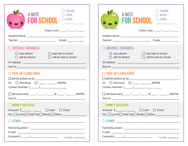 7 Images of Printable Absent Notes To School