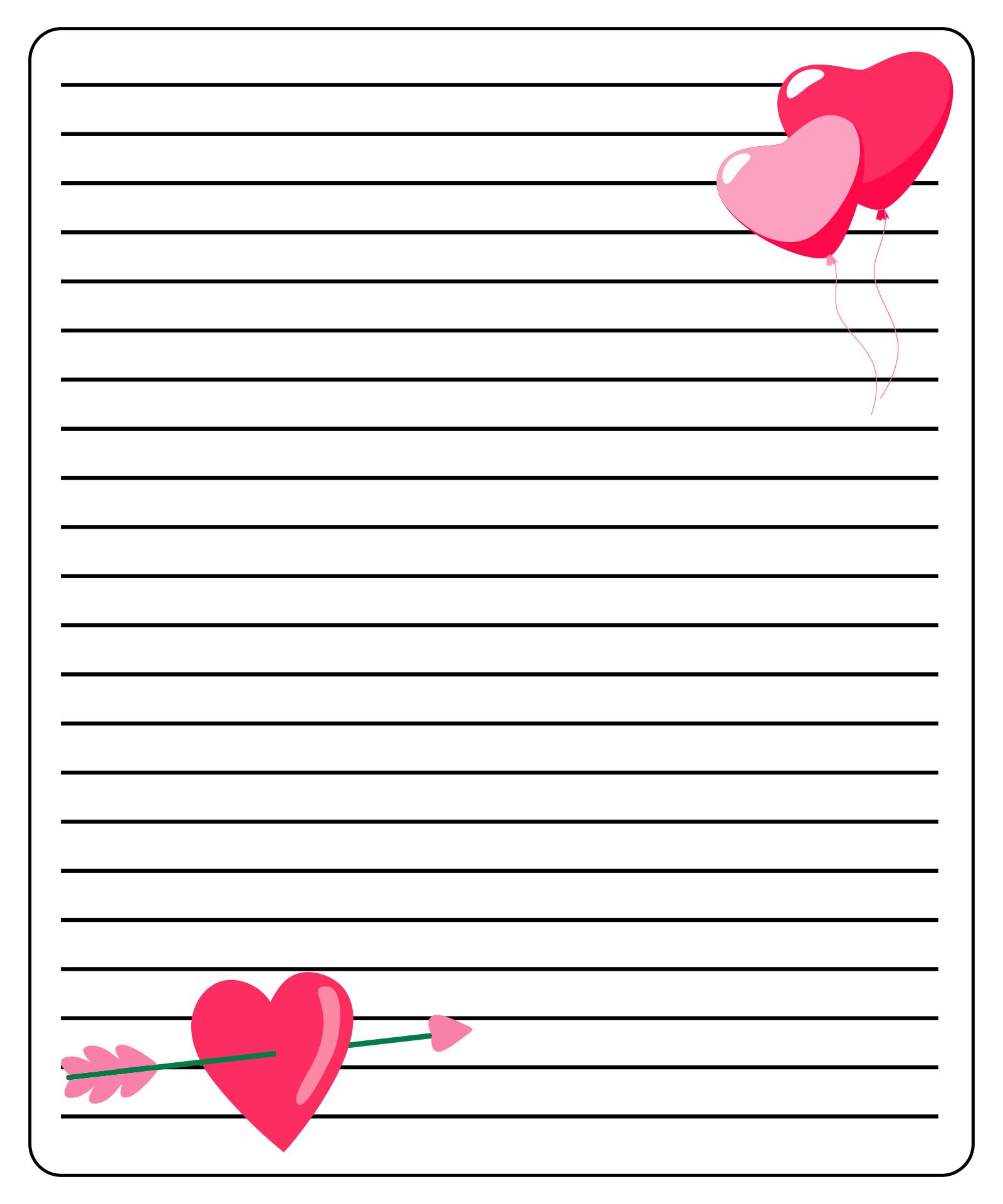 Printable Valentine Stationery Template